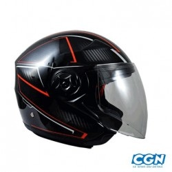 CASQUE JET CHOK DOUBLE ECRAN CITY CARBONLINE NOIR