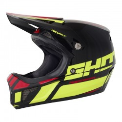 CASQUE SHOT REVOLT ACID NEON JAUNE / ROUGE